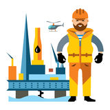 Vector Sea Oil Rig Drilling Platform and oilman. Flat style colorful Cartoon illustration. Stock Photos