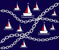 Vector of Sea Pattern.Marine with Chains pattern  Royalty Free Stock Photo