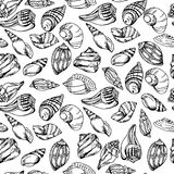 Vector sea pattern. Summer background with shell elements. Repeating print background texture. Stock Photography