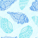 Vector sea  pattern. Summer background with shell elements. Stock Photo