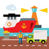 Vector Sea port. Cargo and shipping. Flat style colorful Cartoon illustration. Royalty Free Stock Photos
