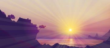Vector   sea scene sun set. Royalty Free Stock Images