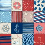 Vector Sea Seamless Pattern Patchwork Stock Photo