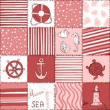 Vector Sea Seamless Pattern Patchwork Stock Photography