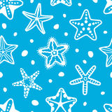 Vector sea seamless pattern with starfish Stock Images