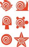 Vector. Sea set. On spiral vector illustration