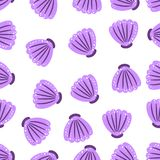 Vector sea shell pattern. Ocean purple color sketch. Travel trendy summer texture. Happy vacation print. Vector sea shell pattern. Ocean purple color sketch Royalty Free Stock Photography
