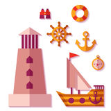 Vector sea travel icons in flat style.  Royalty Free Stock Images