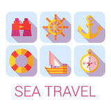 Vector sea travel icons in flat style.  Stock Photo