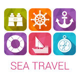 Vector sea travel icons in flat style.  Royalty Free Stock Photos
