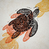 Vector Sea Turtle in abstract composition. Stock Photo