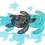 Vector Sea Turtle in abstract composition. Royalty Free Stock Images