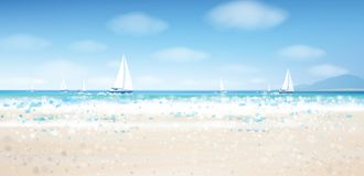 Vector sea view with  yachts. Vector sea view with  yachts, blue  sky and sandy beach Royalty Free Stock Photo