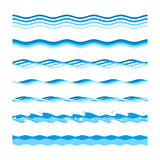 Vector sea waves. Vector set of sea waves on a white background. Ocean waves in a variety of graphic styles Royalty Free Stock Images