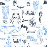 Vector seafood background. Seamless seafood background. Vector Seamless seafood background isolated on white in vintage Royalty Free Stock Images