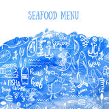 Vector seafood background. Vector seafood background on blue watercolor in modern style for menu design, wrapping Royalty Free Stock Image