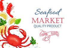 Vector seafood. Healthy food cooking concept. Vector seafood. Crab and shrimps with aromatic herbs and lemon. Healthy food cooking concept Royalty Free Stock Image
