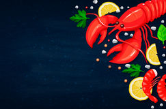 Vector seafood. Healthy food cooking concept. Vector Illustration