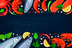 Vector seafood. Healthy food cooking concept. Royalty Free Stock Photos