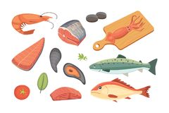 Vector Seafood illustrations set flat fresh fish and crab. Lobster and oyster, shrimp and menu, octopus animal Stock Photography