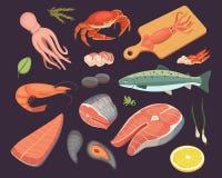 Vector Seafood illustrations set flat fresh fish and crab. Lobster and oyster, shrimp and menu, octopus animal. Shellfish lemon Royalty Free Stock Photo