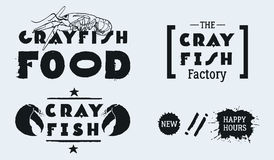 Vector seafood labels: hand drawn illustrations, ink lettering. CRAYFISH FOOD with lobster. The CRAYFISH Factory. Royalty Free Stock Images