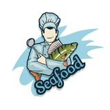 Vector seafood logo. Cartoon chef with fish in hands. Isolated on white background. Seafood Company Vector Logo Design Template. Ocean Delicacies collection Stock Photos
