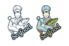 Vector seafood logo. Cartoon chef with fish in hands. Isolated on white background. Ocean Delicacies collection Stock Images