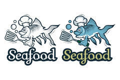 Vector seafood logo. Cartoon fish chef. Isolated on white background. Ocean Delicacies collection Stock Image