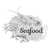 Vector seafood logo Royalty Free Stock Photography