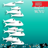 Vector seafood menu  composition with place for your text. Royalty Free Stock Photo