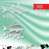 Vector seafood menu with fishes and place for your text. Royalty Free Stock Photos