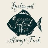 Seafood menu with decorative fish and inscriptions. Vector seafood menu for restaurant or shop with decorative fish, handwritten inscriptions and words fresh Stock Image