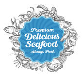Vector seafood restaurant menu illustration, sketch banner Royalty Free Stock Photo