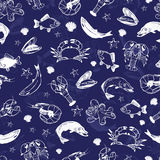 Vector seafood seamless pattern. Mediterranean design. Underwater wildlife texture. Ocean animals - fish, octopus, shrimp, crab, lobster, mussel, shell. Sea Stock Photos