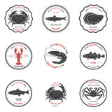 Vector seafood silhouettes, labels, emblems. Set of templates royalty free illustration