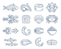 Vector seafood and sushi blue icons collection Royalty Free Stock Image