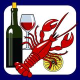 Vector seafood and wine icon Stock Photos