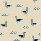 Vector seagulls and waves marine seamless pattern Stock Photo