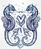 Vector seahorse with heart line art. Royalty Free Stock Photo