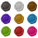 Vector sealing wax. 9 many-coloured vector sealing waxes Stock Photos