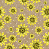 Vector seamleess background with yellow sunflowers on kraft paper. Used for scrap booking, greeting card, wrapping paper Stock Photography