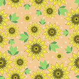 Vector seamleess background with yellow sunflowers and leaves on kraft paper. Used for scrap booking, greeting card, wrapping paper Stock Illustration