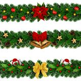 Vector seamless Christmas decorated garlands royalty free stock images