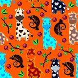 Vector seamles pattern with giraffes, chameleons, branches royalty free illustration