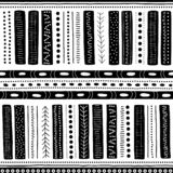 Vector seamless aboriginal pattern including ethnic Australian motive with black typical elements on white background. Vector seamless aboriginal pattern Royalty Free Illustration