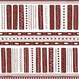 Vector seamless aboriginal pattern including ethnic Australian motive with brown typical elements on white background. Vector seamless aboriginal pattern royalty free illustration