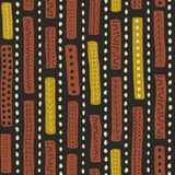 Vector seamless aboriginal pattern including ethnic Australian motive with brown and yellow typical elements on dark grey backgrou. Vector seamless aboriginal Stock Illustration