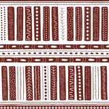 Vector seamless aboriginal pattern including ethnic Australian motive with typical elements on white worn out texture. Vector seamless aboriginal pattern stock illustration
