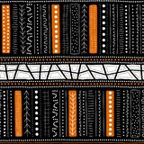 Vector seamless aboriginal pattern including ethnic Australian motive with typical elements on black background. Vector seamless aboriginal pattern including Royalty Free Illustration